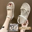 PAPORA格紋輕量舒適涼鞋KS4842黑色 / 米色