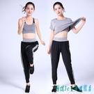 瑜伽服健身房2020清新秋季新款寬鬆顯瘦速干晨跑步運動套裝女初學者 OO5824