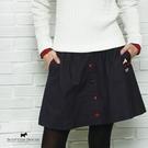 前排格紋裝飾釦設計短裙 【AF2154】