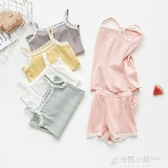 女童家居服純棉夏季薄款中大兒童吊帶背心短褲兩件套寶寶睡衣套裝 中秋節