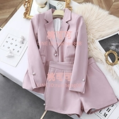 西裝外套女韓版顯瘦短褲時尚修身西服兩件套【桃可可服飾】