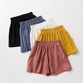 兒童人棉短褲 女童薄款寬鬆寬管褲三分褲 涼爽垂順