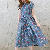初心 棉麻 洋裝 【D3405】 藍天 花朵 吱吱鳥兒 短袖 長裙 長洋裝 洋裝