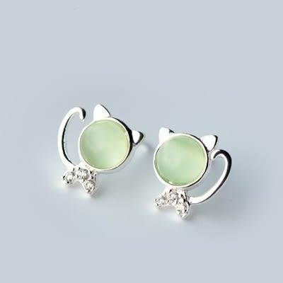 925純銀耳環(耳針式)-清新綠貓眼小貓咪生日情人節禮物女飾品73dr56[時尚巴黎]