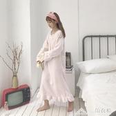 韓版中長款長袖睡衣加厚網紅甜美少女家居服睡裙女裝 三角衣櫃