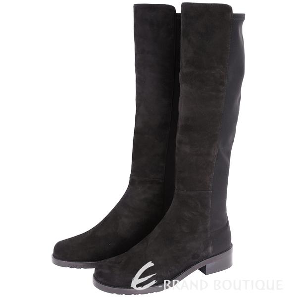 Stuart Weitzman HALF N HALF 黑色麂皮拼接低跟及膝長靴 1530378-01