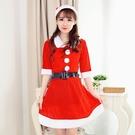 聖誕節娃娃領新款金絲絨聖誕裝舞臺角色扮演長裙聖誕老人服裝表演 雙十二全館免運