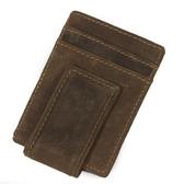 瘋馬皮皮夾(短夾)-實用多卡位直式磁扣男錢包73qs52【時尚巴黎】