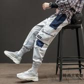 原創工裝褲男潮流貼袋拼接撞色束腳褲街頭休閒長褲子【時尚大衣櫥】