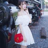 洋裝 一字領度假甜美露肩抹胸沙灘裙荷葉邊蕾絲連身裙631-038 巴黎春天
