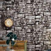 復古懷舊大理石石紋酒吧咖啡館工業風壁紙3D仿真磚紋磚塊墻紙 igo