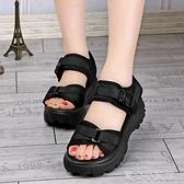厚底涼鞋 涼鞋女夏2021新款學生厚底坡跟鬆糕跟平底運動情侶鞋外貿 17育心