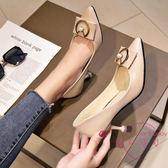 鞋子女新品低跟尖頭女鞋大尺碼貓跟高跟鞋細跟銀色單鞋女工作鞋