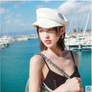 (1133)-【現貨】夏季春夏軍帽藍色帽子女韓版潮貝雷帽海軍帽時尚夏季薄款鴨舌八角