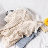 沙灘風簡約純色鏤空V領短袖針織開衫上衣女【時尚大衣櫥】