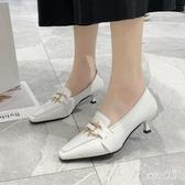 英倫風復古細跟單鞋女2020春季新款韓版尖頭大碼皮鞋女氣質淺口工作鞋 LR19387【Sweet家居】