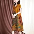 真絲洋裝/連衣裙女2021夏季新款洋氣貴夫人高端V領寬鬆顯瘦桑蠶絲裙子 快速出貨
