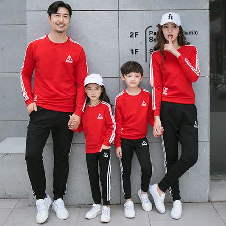 韓版運動三角圖案字母長袖上衣親子裝(大人)