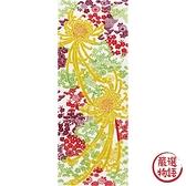 【日本製】【和布華】 日本製 注染拭手巾 黃紅色系 和風長瓣菊花圖案 SD-4989 - 和布華