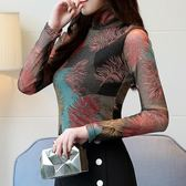 蕾絲衫長 大碼女裝高領印花蕾絲網紗打底衫長袖女t恤小衫加絨加厚  傑克型男館