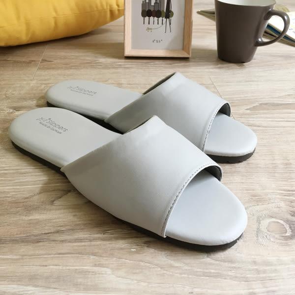 台灣製造-經典系列-皮質室內拖鞋-舒柔純色-灰