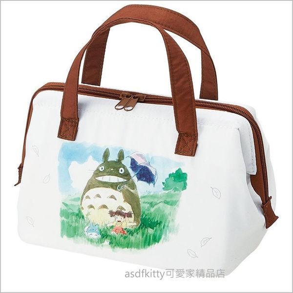 asdfkitty可愛家☆TOTORO龍貓水彩畫版寬口拉鍊輕量保溫便當袋/手提袋/購物袋-也可保冷-日本正版商品