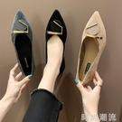 女鞋春季新款時尚淺口尖頭網紅單鞋一腳蹬豆豆鞋休閒粗跟瓢鞋 時尚潮流