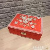 婚慶盒 首飾盒公主歐式韓國宮廷珍珠帶鎖木質簡約可愛飾品收納盒【美物居家館】