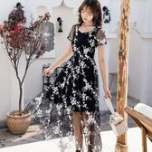 法式刺繡花朵蕾絲宴會謝師宴洋裝 [19860-QF]小三衣藏