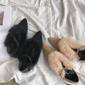 時尚毛毛單鞋 尖頭平底鞋 一字扣毛毛鞋