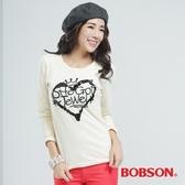 BOBSON 亮片心型圖案上衣(米白30075-31)