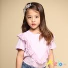 Azio 女童 上衣 V字蕾絲造型短袖上衣T恤(紫) Azio Kids 美國派 童裝