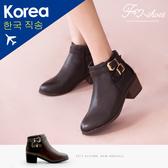 靴.雙釦飾彈性帶短靴-FM時尚美鞋-韓國精選.young