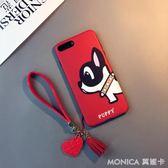 日韓卡通狗iphone7 plus手機殼蘋果8掛繩6s硅膠軟套X可愛女6兔子 莫妮卡小屋