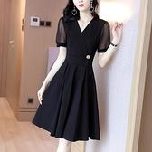 洋裝`裙子女夏連身裙新款顯瘦a字裙法式復古赫本小黑裙氣質小裙子H456-C胖妞衣櫥