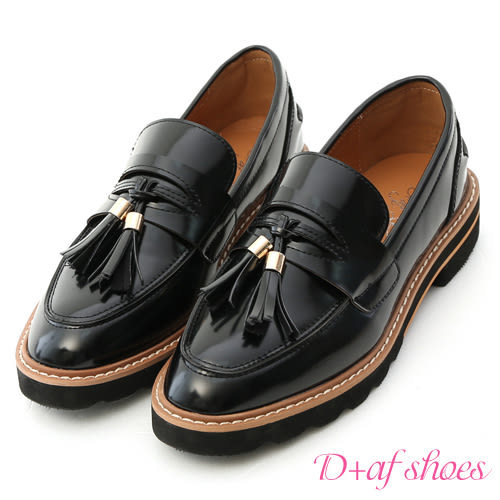 D+AF 學院氛圍.漆皮流蘇加厚底樂福鞋*黑