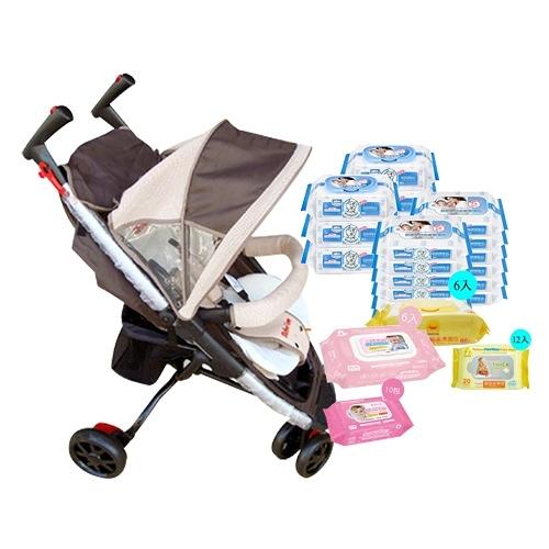 Mother's Love 簡易攜帶型輕便推車(咖啡) 加價購 貝恩黃鴨貝比Q 濕巾組合(3款選)