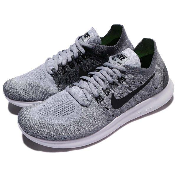 Nike 慢跑鞋 Wmns Free RN Flyknit 2017 灰 白 雪花 飛線編織 運動鞋 女鞋【PUMP306】 880844-002