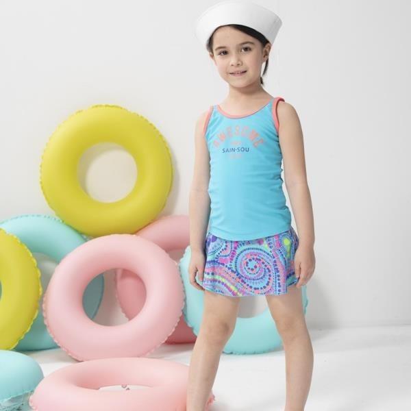 【南紡購物中心】【SARBIS】女童兩截式泳裝附泳帽B822001