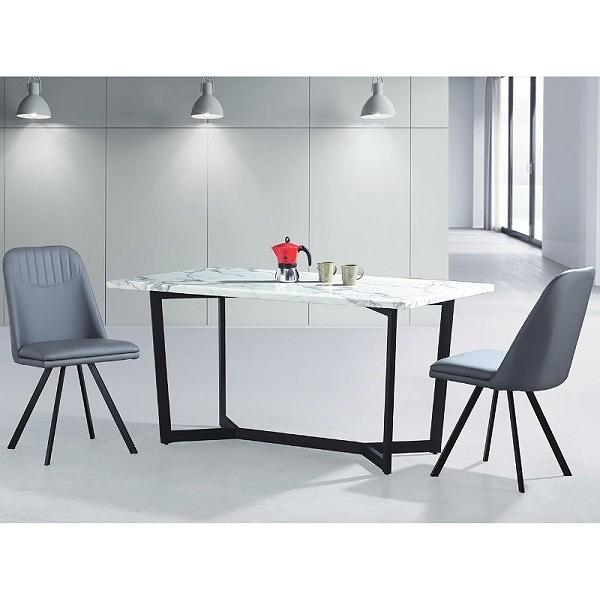 餐桌 PK-539-2 魚骨頭中花白6尺餐桌(黑腳) (不含椅子)【大眾家居舘】