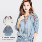 【KOMI】 波西米亞繡花流蘇綁繩棉上衣 (1812-238021)