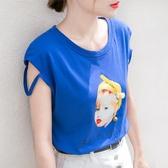 繡珠印花背心T恤女夏季原宿復古寬鬆無袖上衣