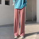 冰絲寬管褲女春夏高腰垂感拖地直筒休閒顯瘦針織褲薄款加長小個子【快速出貨】