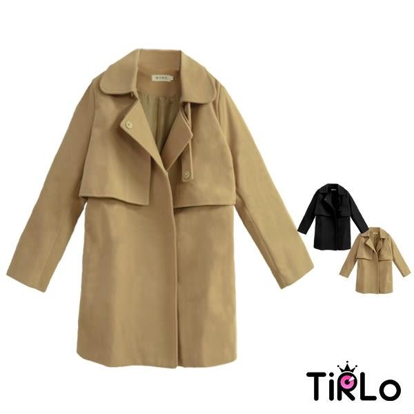 大衣-Tirlo-韓系挺版領片設計繫帶顯瘦大衣-兩色(M/L/XL)