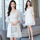 促銷價不退換洋裝連身裙夏季白色雪紡連衣裙小清新學生度假沙灘裙超仙女裙子氣質(T105)8771
