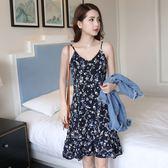 春夏新款V領無袖雪紡洋裝女裝韓版顯瘦中長款碎花荷葉邊弔帶裙  檸檬衣舍