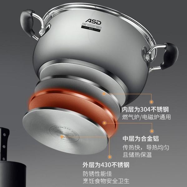 愛仕達不銹鋼湯鍋加厚304電磁爐通用燉鍋家用燃氣小湯鍋蒸鍋兩用 時尚芭莎