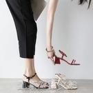 高跟涼鞋2021夏季新款簡約一字帶涼鞋女鞋貨號1-2123 【快速出貨】