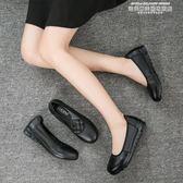 豆豆鞋上班鞋女平底圓頭真皮工作鞋女黑色皮鞋舒適軟底淺口女鞋平跟單鞋