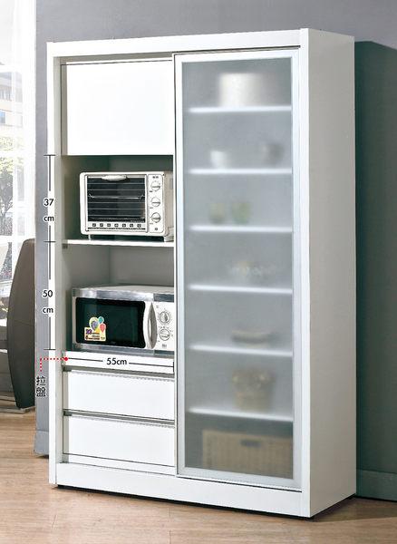 【森可家居】羽田4尺白色鋁框推門餐櫃 7JX221-1 收納廚房櫃 碗盤碟櫃 簡約北歐風